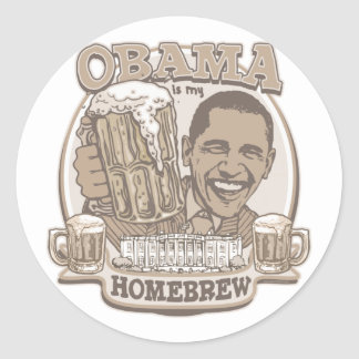 Obama is My HomeBrew by Buttonzup Round Stickers