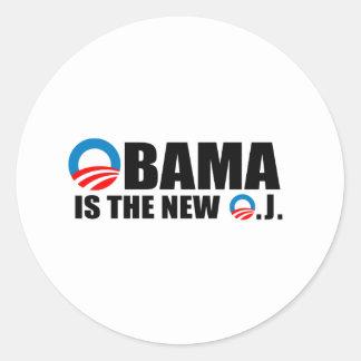 OBAMA IS THE NEW O.J ROUND STICKER