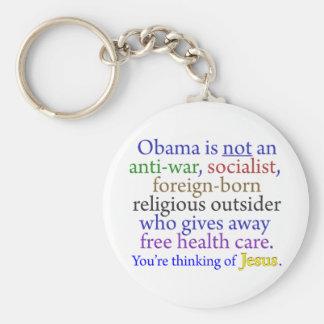 Obama & Jesus Basic Round Button Key Ring