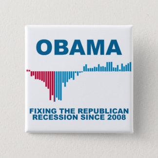 Obama Job Growth Graph 15 Cm Square Badge