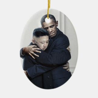 Obama Kim Jong Un North Korea Love Christmas Ornament