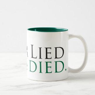 Obama Lied, Jobs Died Two-Tone Mug