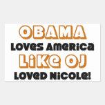 Obama Loves America Like OJ Loved Nicole! Rectangular Sticker