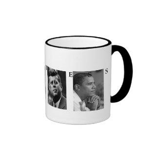 OBAMA MUG: GREATNESS Lincoln FDR JFK Obama 15oz Ringer Mug