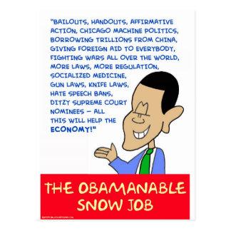 obama obamanable snow job postcard