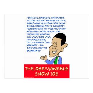 obama obamanable snow job postcards