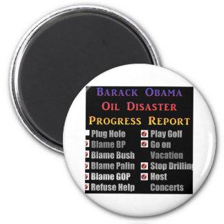 Obama oil spill progress report 6 cm round magnet