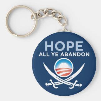 Obama Pirate - Hope All Ye Abandon Basic Round Button Key Ring