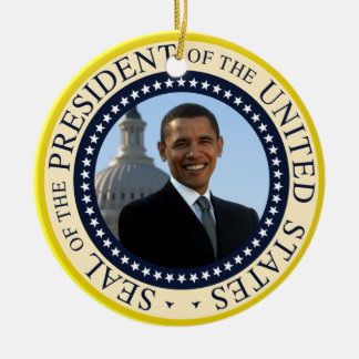 Obama Portrait in Official Presidential Seal Round Ceramic Decoration