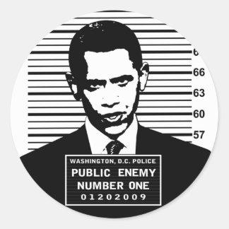 Obama - Public Enemy Number One Round Sticker