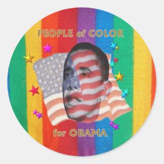 Obama Rainbow Round Sticker