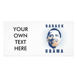 Obama rays blue customized photo card