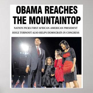 Obama Reaches the Mountaintop Poster