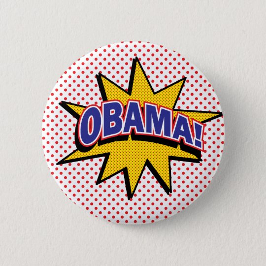 OBAMA! Retro Comic Halftone Print 6 Cm Round Badge
