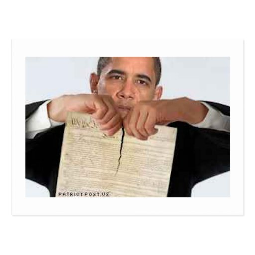 Obama Ripping Up the Constitution Post Card
