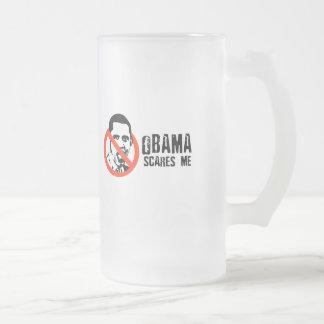 OBAMA SCARES ME FROSTED GLASS MUG