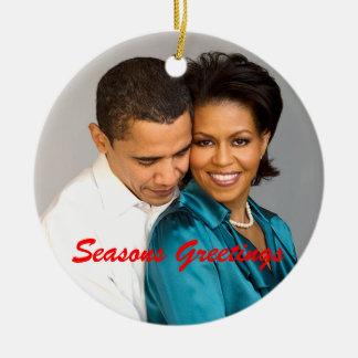 Obama Seasons Greetings Christmas Ornament