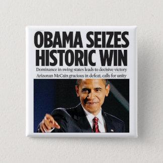 Obama Seizes Historic Win Button