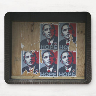 Obama signs in a boarded window of a closed mouse pad