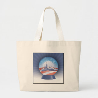 obama snow globe large tote bag