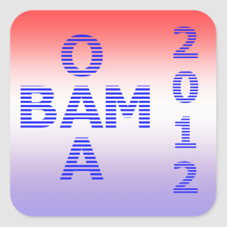 OBAMA Stripes 2012 Square Stickers