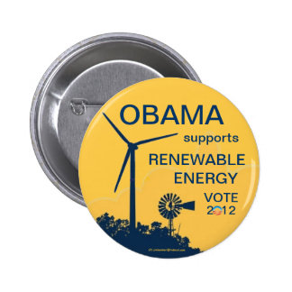 OBAMA supports renewable energy Vote Democratic 20 6 Cm Round Badge