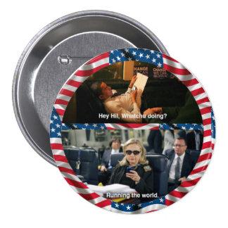 Obama Texts Hillary 7.5 Cm Round Badge