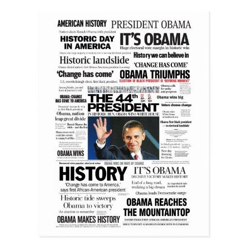 Obama: The 44th President Headline Collage Postcard
