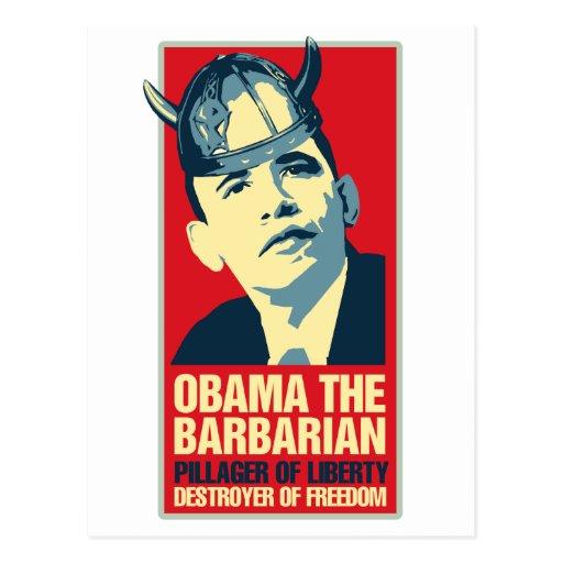 Obama the Barbarian Post Card
