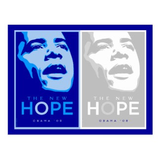 Obama - The New Hope Blue & White Postcard