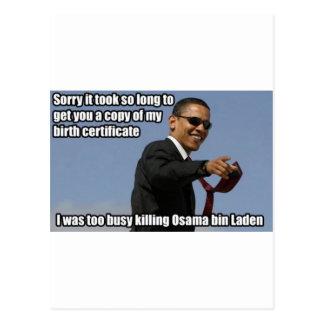 Obama - Too Busy Killing Osama Postcard