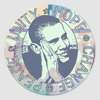 Obama Unity, Hope, Change and Peace 2012 Round Sticker