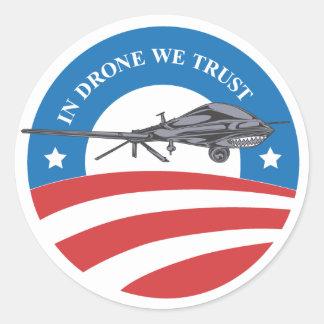 obama victory-In Drone We Trust-sticker Classic Round Sticker