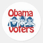 Obama Voters Round Stickers
