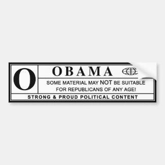 obama : warning label : bumper stickers