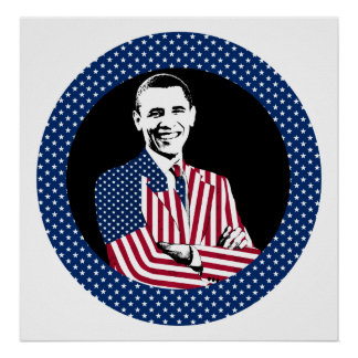 Obama Wearing American Flag Suit Poster