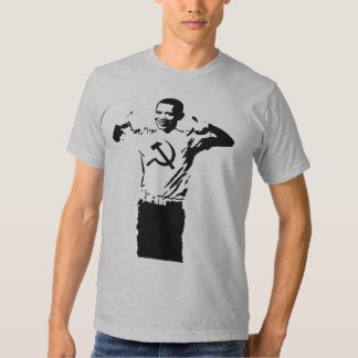 Obama wearing Commie t-shirt