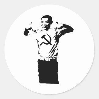 Obama wearing Commie t-shirt Round Sticker