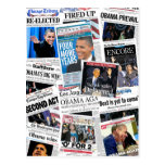 Obama Wins 2012 Newspaper Collage Postcard