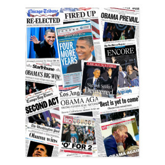 Obama Wins 2012 Newspaper Collage Postcard