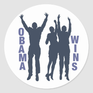 Obama Wins Classic Round Sticker