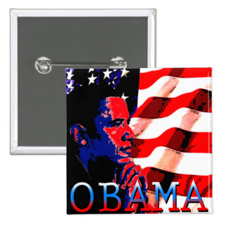 Obama with American Flag 15 Cm Square Badge