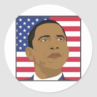 Obama with American Flag Round Sticker