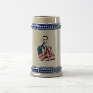 Obama with an American Flag Jacket Beer Stein