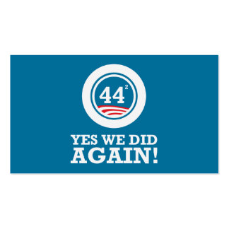 Obama - Yes We Did AGAIN Business Card Template