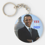 Obama Yes We Did! Basic Round Button Key Ring