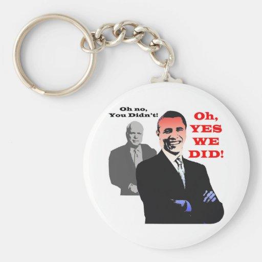 Obama YES WE DID Basic Round Button Key Ring