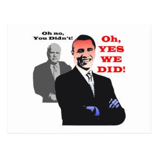 Obama YES WE DID Postcard