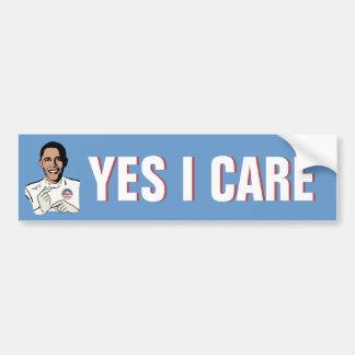 Obamacare Yes I Care Bumper Sticker