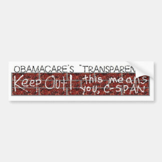 "Obamacare's ""transparency"" bumper sticker"